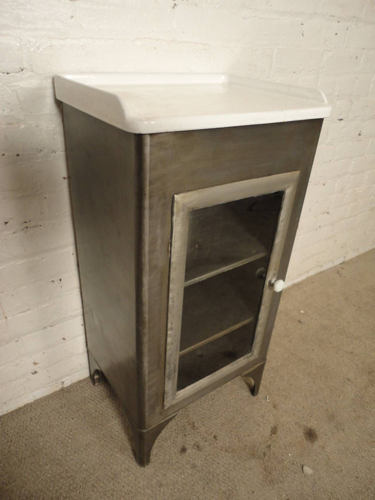 Vintage industrial medical cabinet w porcelain top vintage