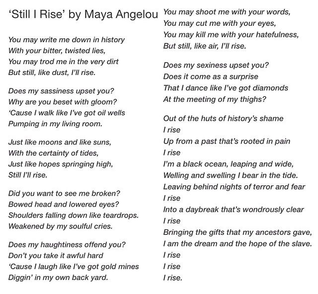 still i rise essay maya angelou