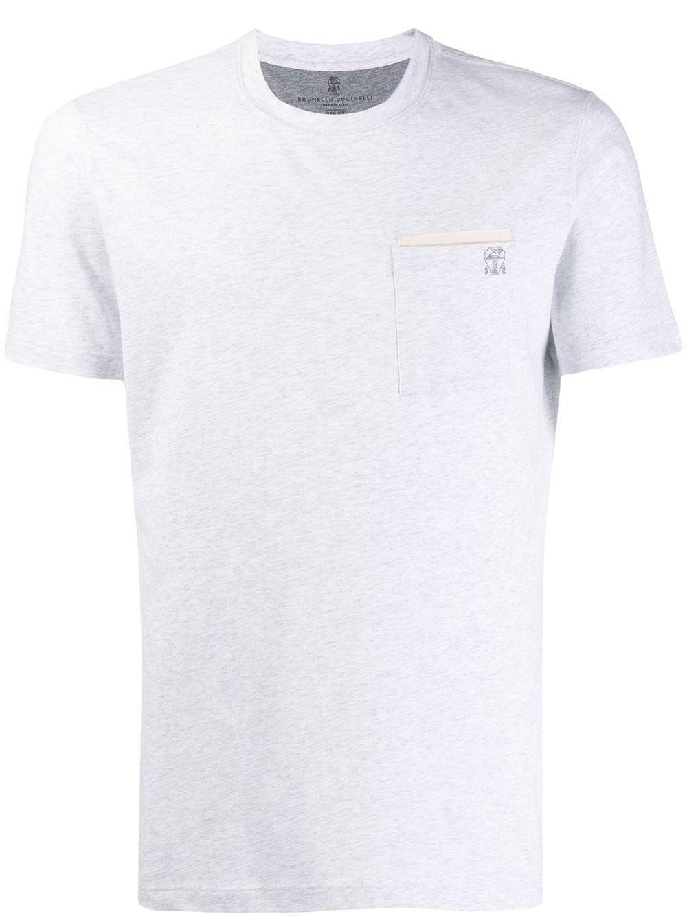 Brunello Cucinelli Slim Fit Embroidered Logo T Shirt Grey