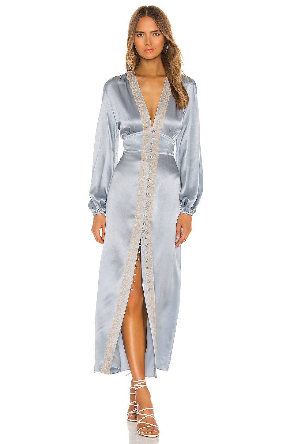 Divine Heritage Long Sleeve Button Up Midi Dress from