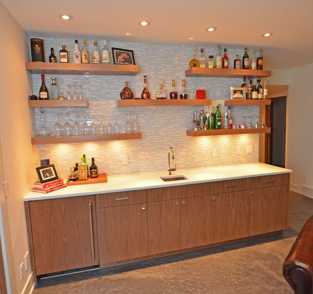 Perfect Basement Bar Shelving Bar Design, Modern Basement Bar With Contemporary  Wooden Bar Shelves With Blonde Color For Glasses Liquors And Wines Also  Gray Mosaic ...