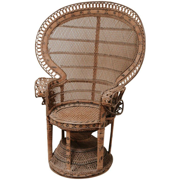 20th Century Rattan Wicker Peacock Emanuelle Chair Wicker