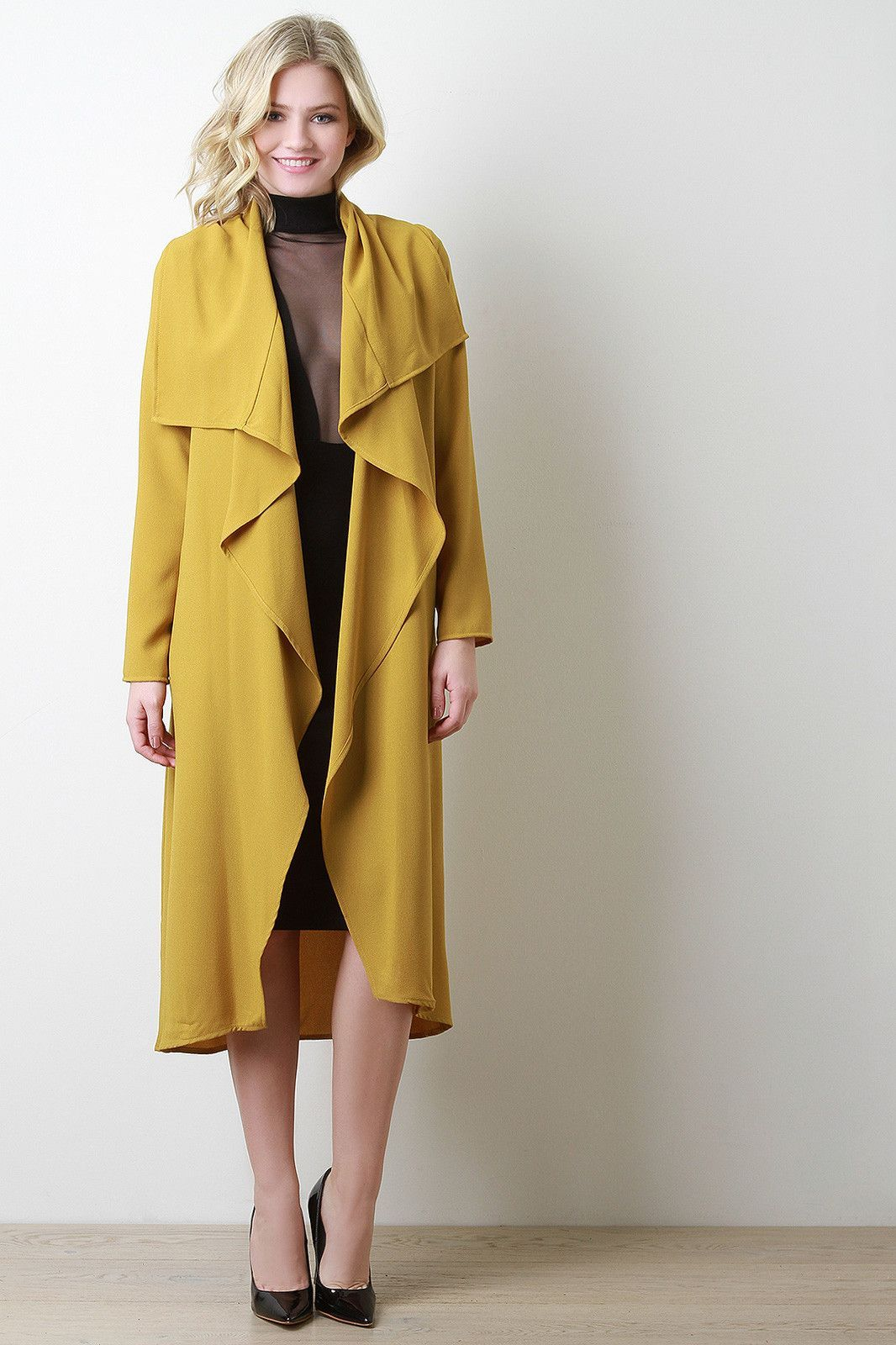 Crepe Draped Belted Trench Jacket