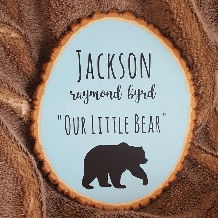 Wood sign baby name sign personalized baby gift woodland wood sign baby name sign personalized baby gift woodland nursery decor little bear cave bear nursery decor wood slice baby shower negle Images