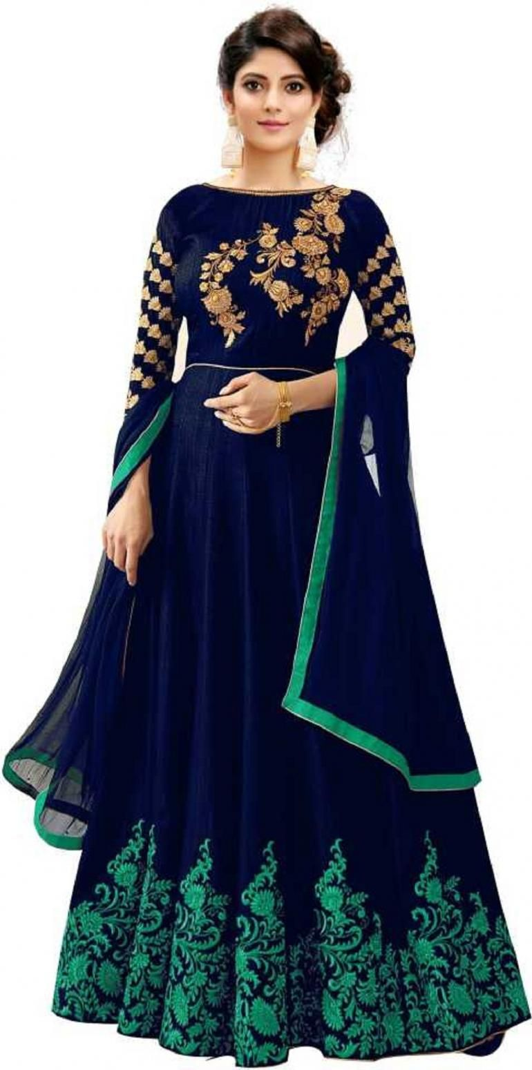 47efa49267 Buy Bandidhari Fashion Women's Phantom Silk Blue Semi-Stiched Anarkali Gown  Online at Low prices in India on Winsant, India fastest online shopping  website.