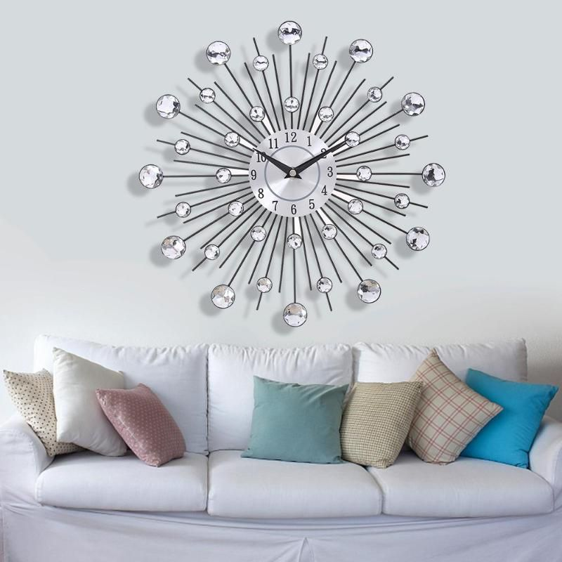 33cm Vintage Metal Crystal Sunburst Wall Clock Luxury Diamond Large Modern Design Wall Cloc In 2020 Modern Wall Clock Design Silver Wall Clock Large Wall Clock Modern
