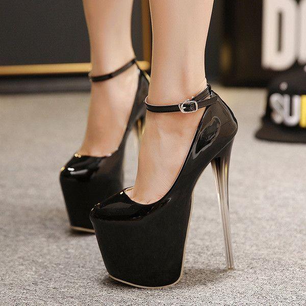Trendy Platform Pump Stunning Ankle Strap Stunning Pump Stiletto High Heels   23814f
