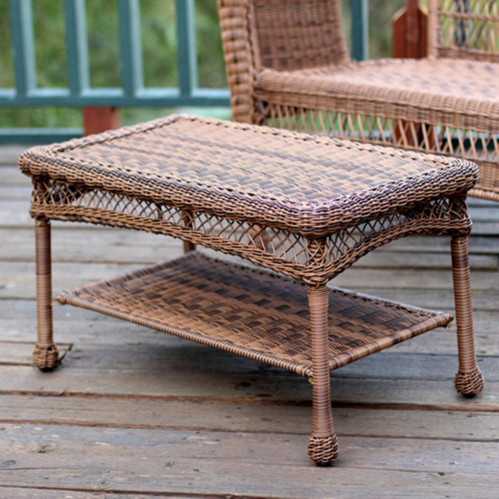 Outdoor Jeco Wicker Patio Furniture Coffee Table