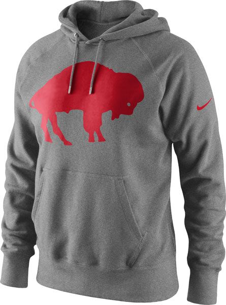 Nike Pullover Red Buffalo Bills Grey Nike Historical Logo Hooded Sweatshirt