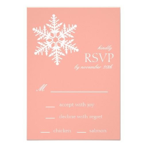Jumbo Snowflake RSVP Cards (Peach) Personalized Invitations