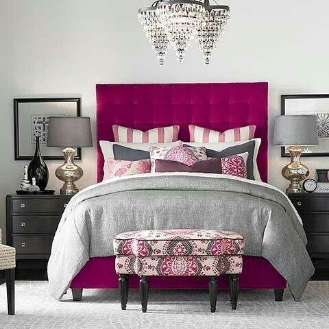 Bedroom Fuschia Gray Home Decor Bedroom Upholstered Beds Pink Bedroom Decor