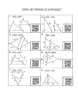 Similar Triangles Worksheet Freebie With Qr Codes Geometry Worksheets Teaching Geometry Triangle Worksheet