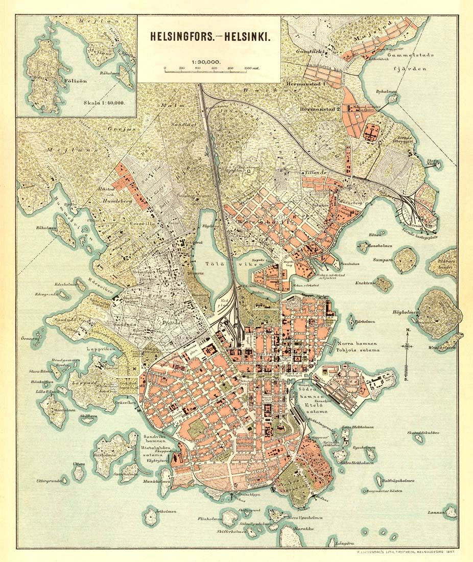 Map Of Helsinki Helsingfors Map Old City Map Print Helsingin