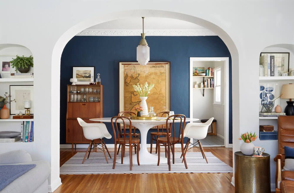 Ginny's Dining Room Reveal (Emily Henderson) Dark blue
