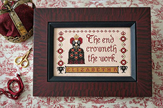 This is gorgeous stitched in silk - The Queen's Sampler cross stitch pattern at thecottageneedle.com