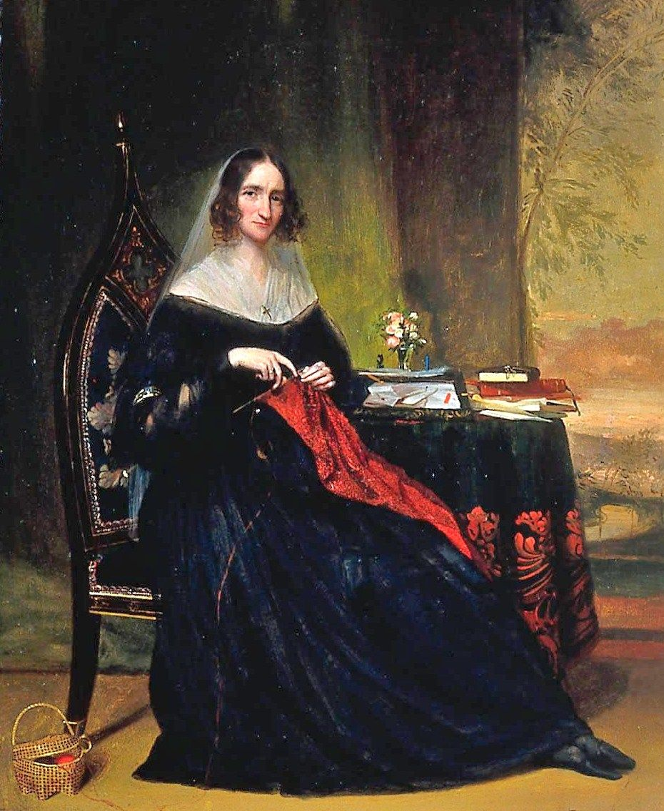 Chester Harding, (American artist, 1792–1866) Katherine Bigelow (Mrs Abbott Lawrence) 1855 -- knitting a nubia?