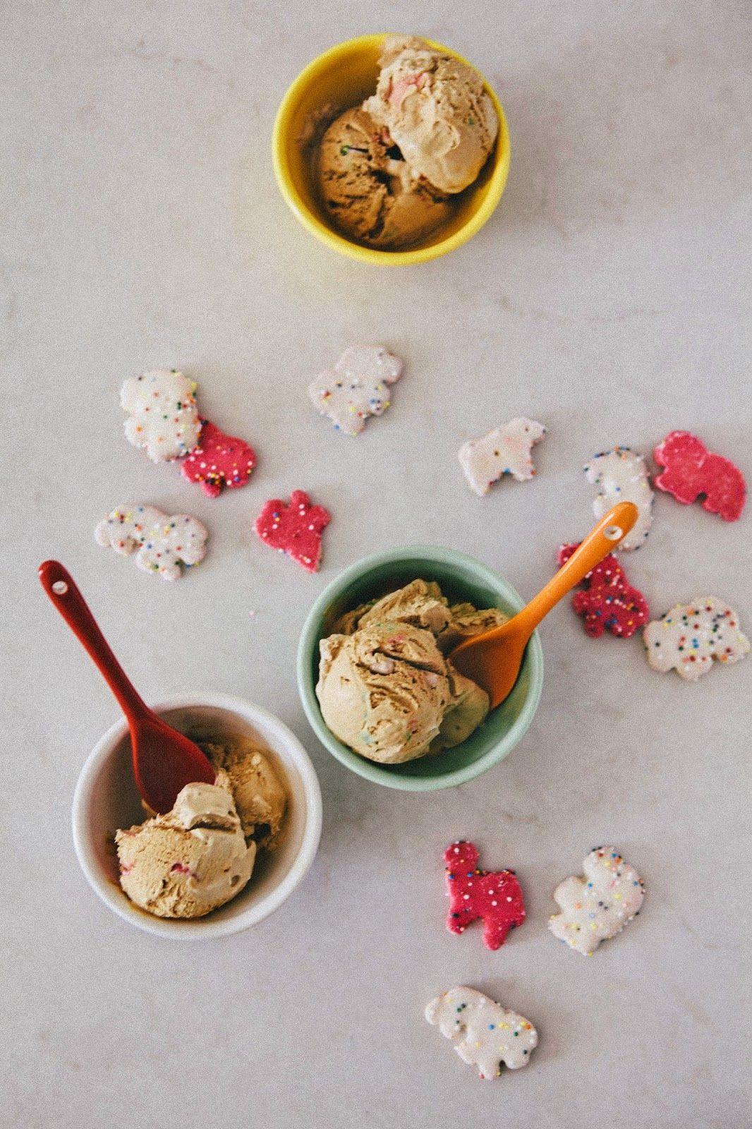 Coffee ice cream with circus animals.
