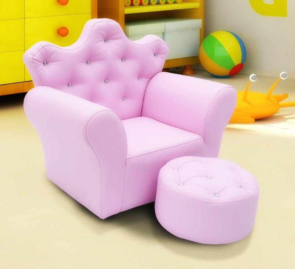 Kids Armchair Pink Girls Chair Footstool Children Seat Footrest Crystal  Buttons
