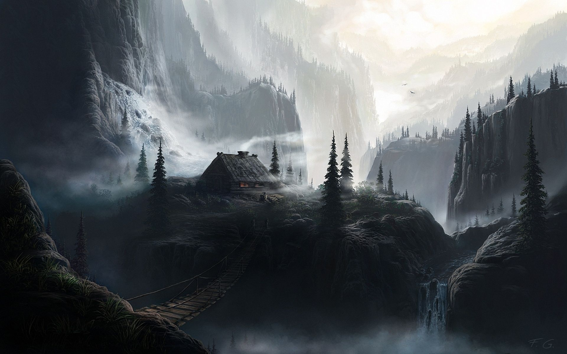 Dark Mountain Cabin Fantasy Landscape Landscape Wallpaper