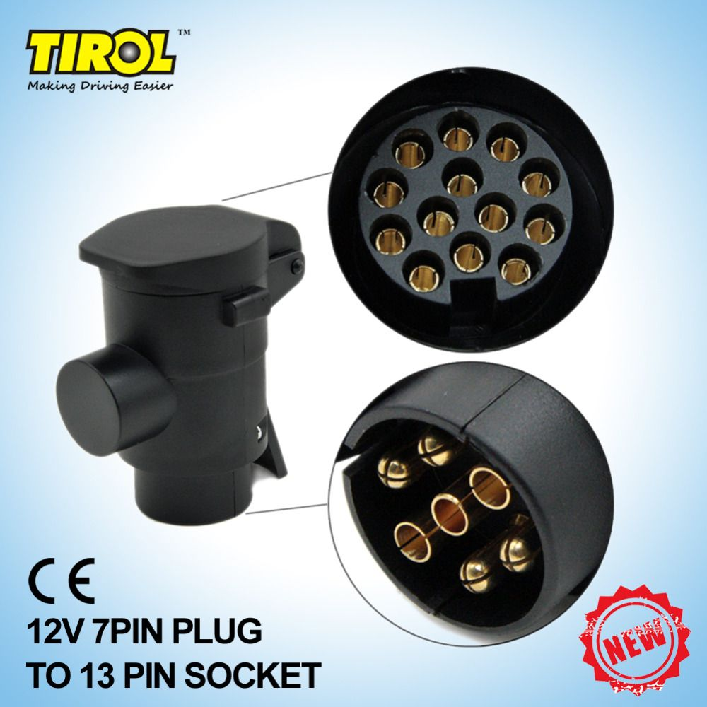 Tirol T22808b New 7 To 13 Pin Trailer Plug Black Frosted Materials Wiring Connector Types 12v