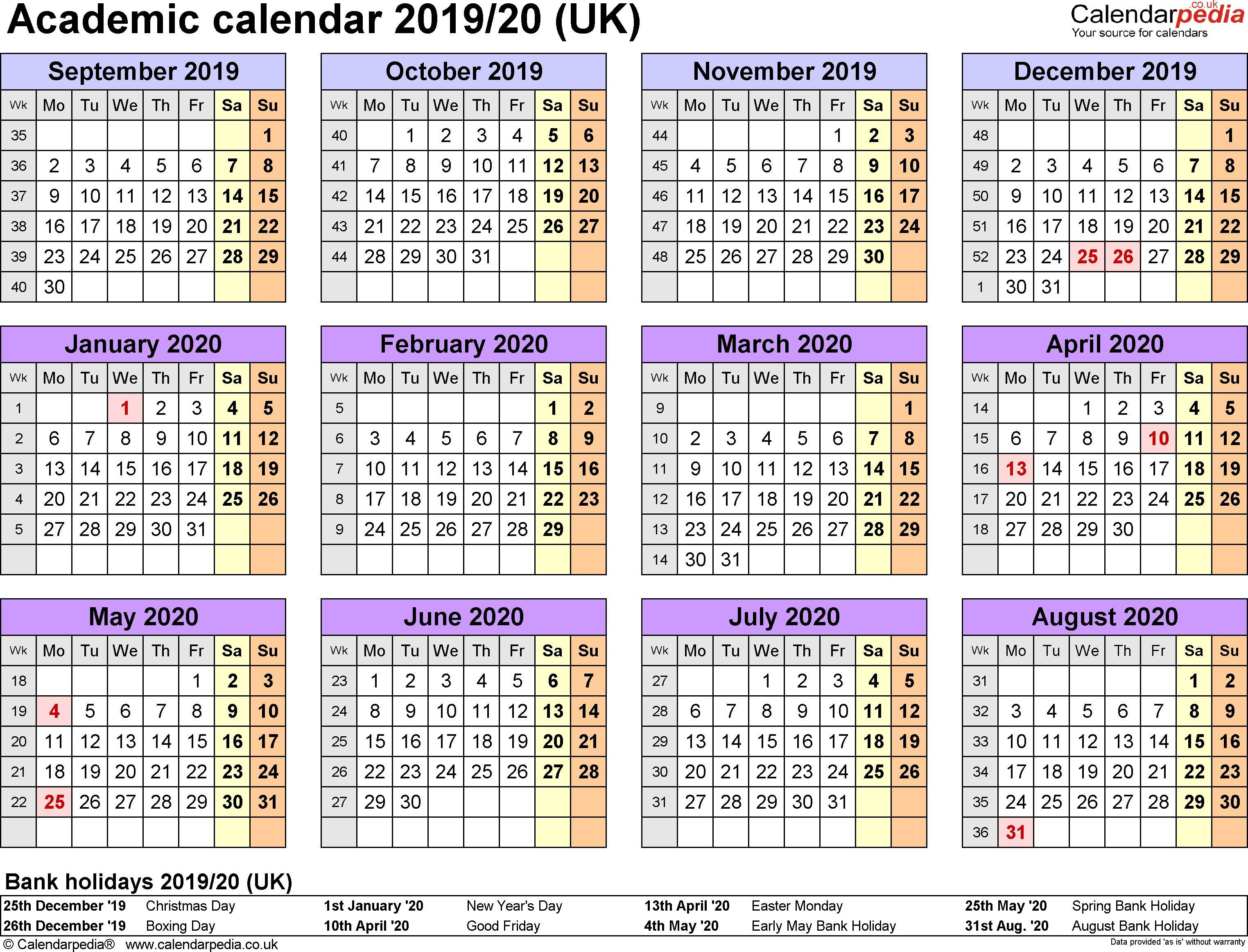 Unique Printable Academic Calendar 2020