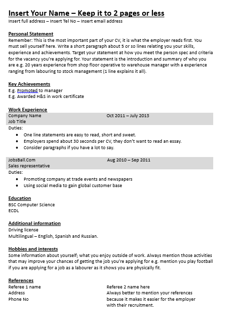 Simple CV Template CV made easy www.jobsball.co.uk/cvresume.php ...