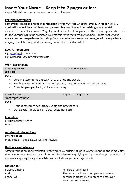 simple cv template cv made easy www jobsball co uk cvresume php