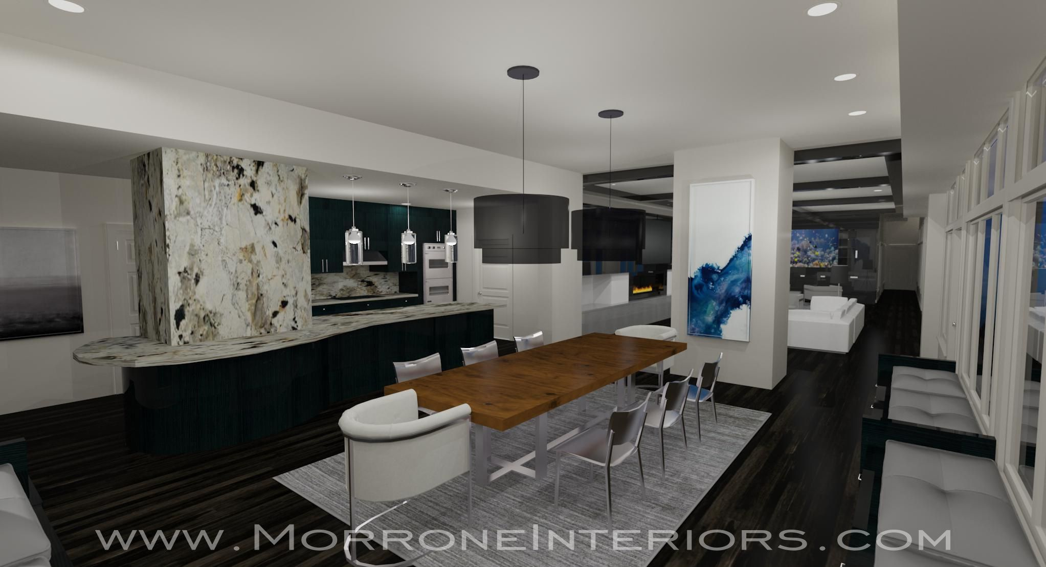 Downtown Orlando Penthouse Kitchen & Dining 3D Drawing