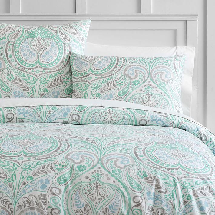 Willow Paisley Duvet Cover Sham Paisley Bedding Mint Green Bedroom Paisley Duvet