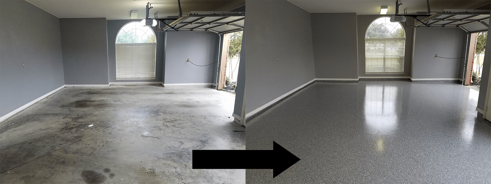 Garage Floors Dfw Before And After Epoxy Garage Floor Paint Garage Floor Flooring Contractor