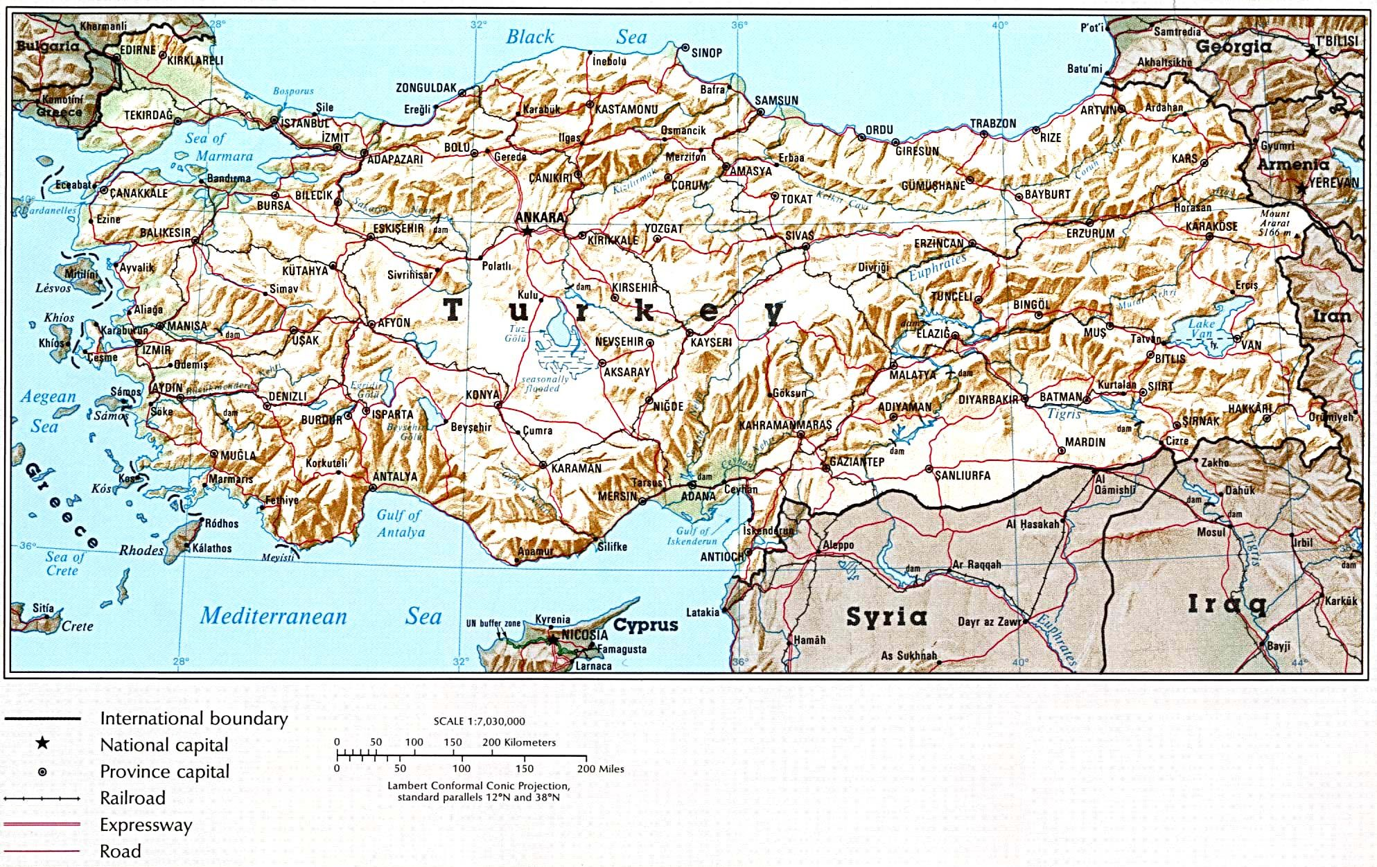 Physical Map Of Turkey Vidiani Commaps Of Turkey Turkei Karte