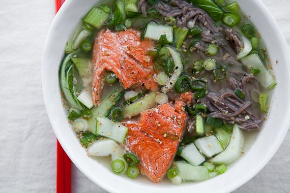 Miso Soup With Salmon and Buckwheat Soba