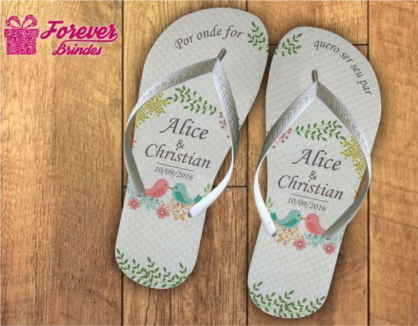 c68ce56df99442 Chinelos personalizados para o Casamento! Apenas R$8,50 o par ...