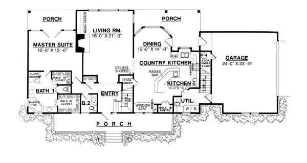 The country kitchen 8205 3 bedrooms and 2 baths the for Two kitchen house plans