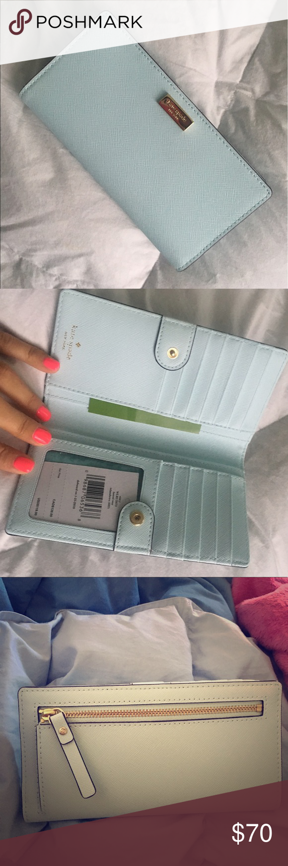 """Kate Spade Stacy Laurel Way Wallet Color: Island waters. Brand new with tags. Originally $119.00. Approximately 3.5"""" X 6.75"""". kate spade Bags Wallets"""