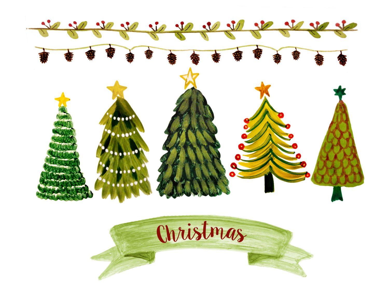 Christmas Clipart Watercolor Christmas Clipart Christmas Etsy Christmas Tree Shop Christmas Tree Clipart Christmas Scrapbook