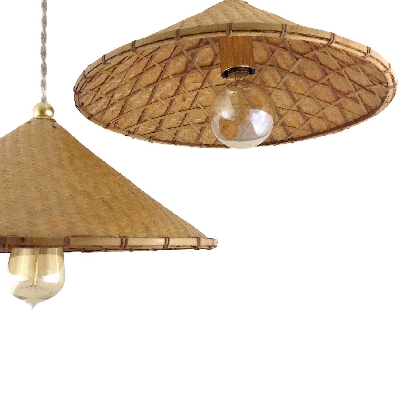Vintage Natural Wicker Hanging Lamp Wood Pendant Light