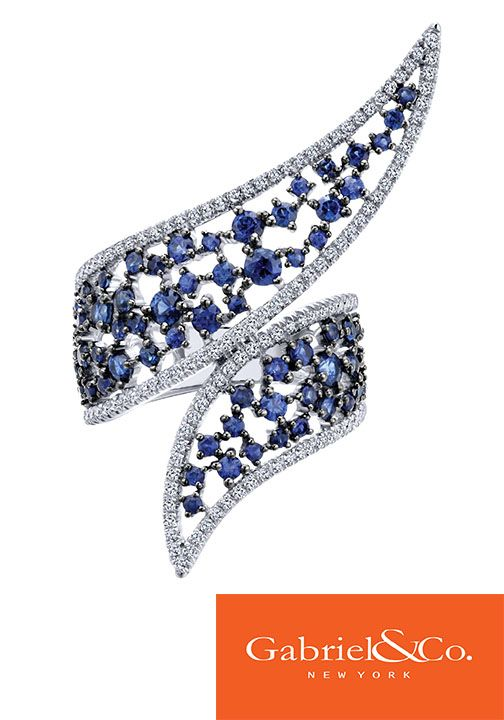 14k White Gold Diamond and Sapphire Ring by Gabriel & Co.