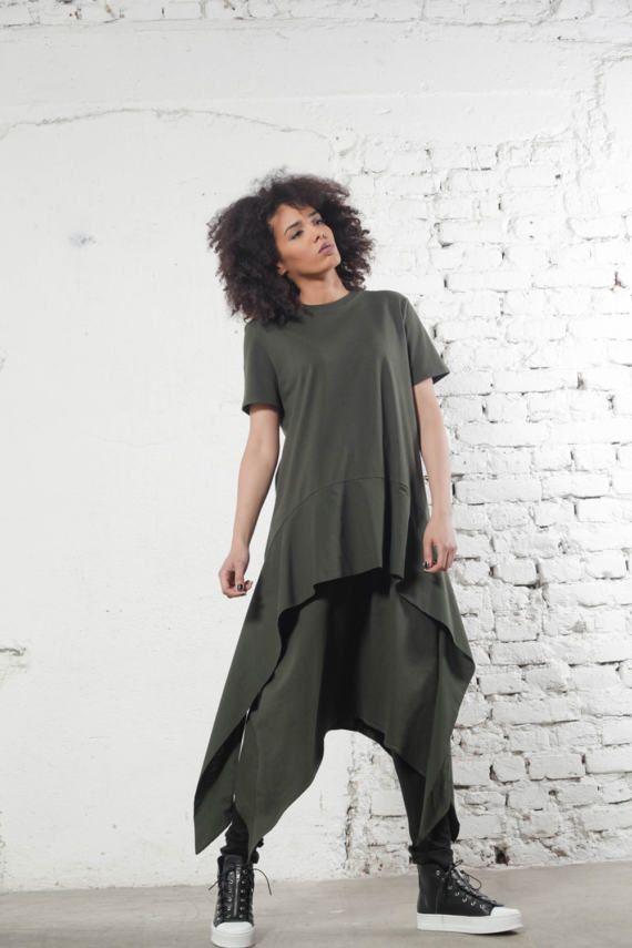 Green Dress Asymmetric Dress Party Dress Casual Dress by Adeptt