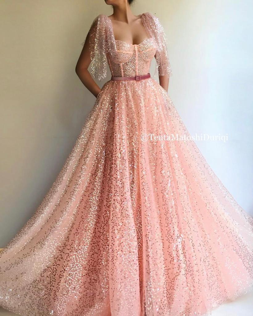 Details - Lemonade pink dress color - Sequin dress fabric - Velvet