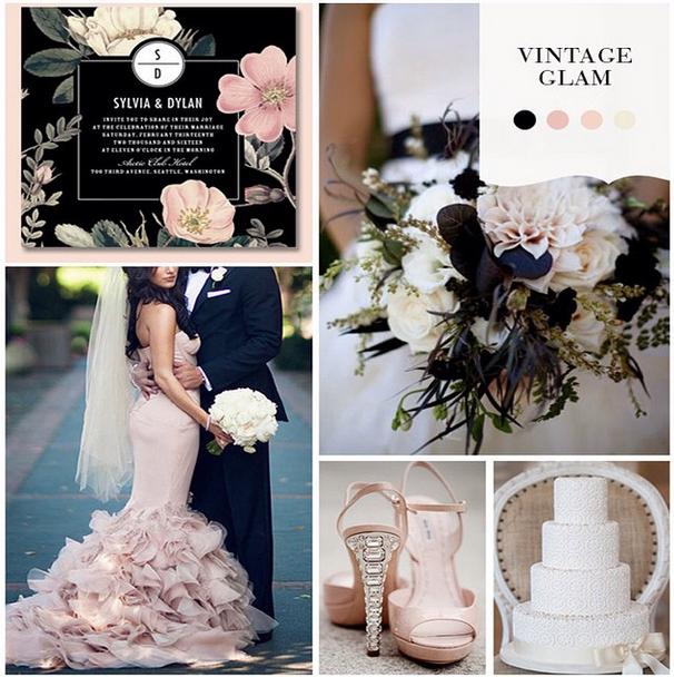 Vintage Glam Wedding Color Scheme by Wedding Paper Divas http