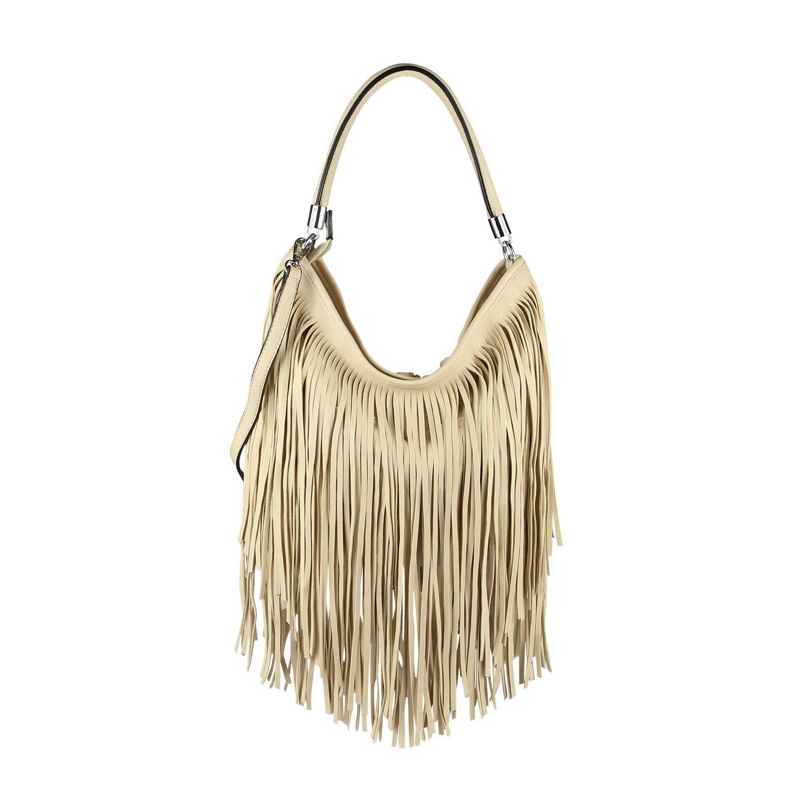 29fea50590dcb ital-design Damen Tasche Fransen Shopper Hobo-Bags Umhängetasche  Schultertasche Handtasche Henkeltasche Beige