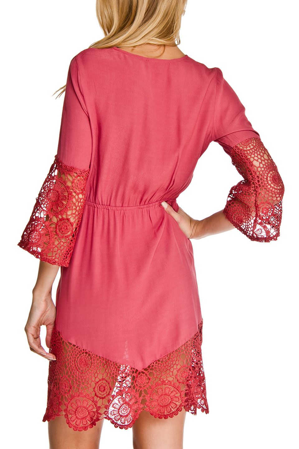 Dance and Marvel - Mabel Wrap Lace Dress in Ash Rose