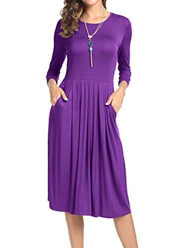 567a316504 Levaca Women s 3 4 Sleeve Pockets Pleated Loose Swing Cas... https ...