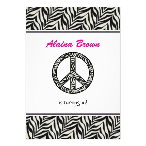 Zebra Print Peace Sign Birthday Party Invitation