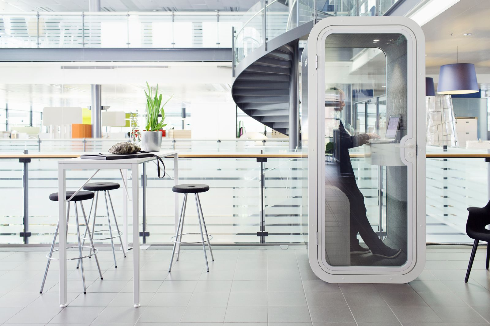 Office phone booth global break rooms pinterest office furniture open plan and office designs - Phone charging furniture the future in your home ...