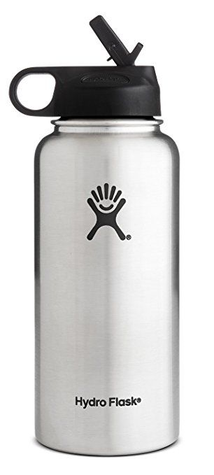 Hydro Flask Vacuum Insulated Stainless Steel Water Bottle Wide Mouth with Straw Lid (Stainless, 32-Ounce)