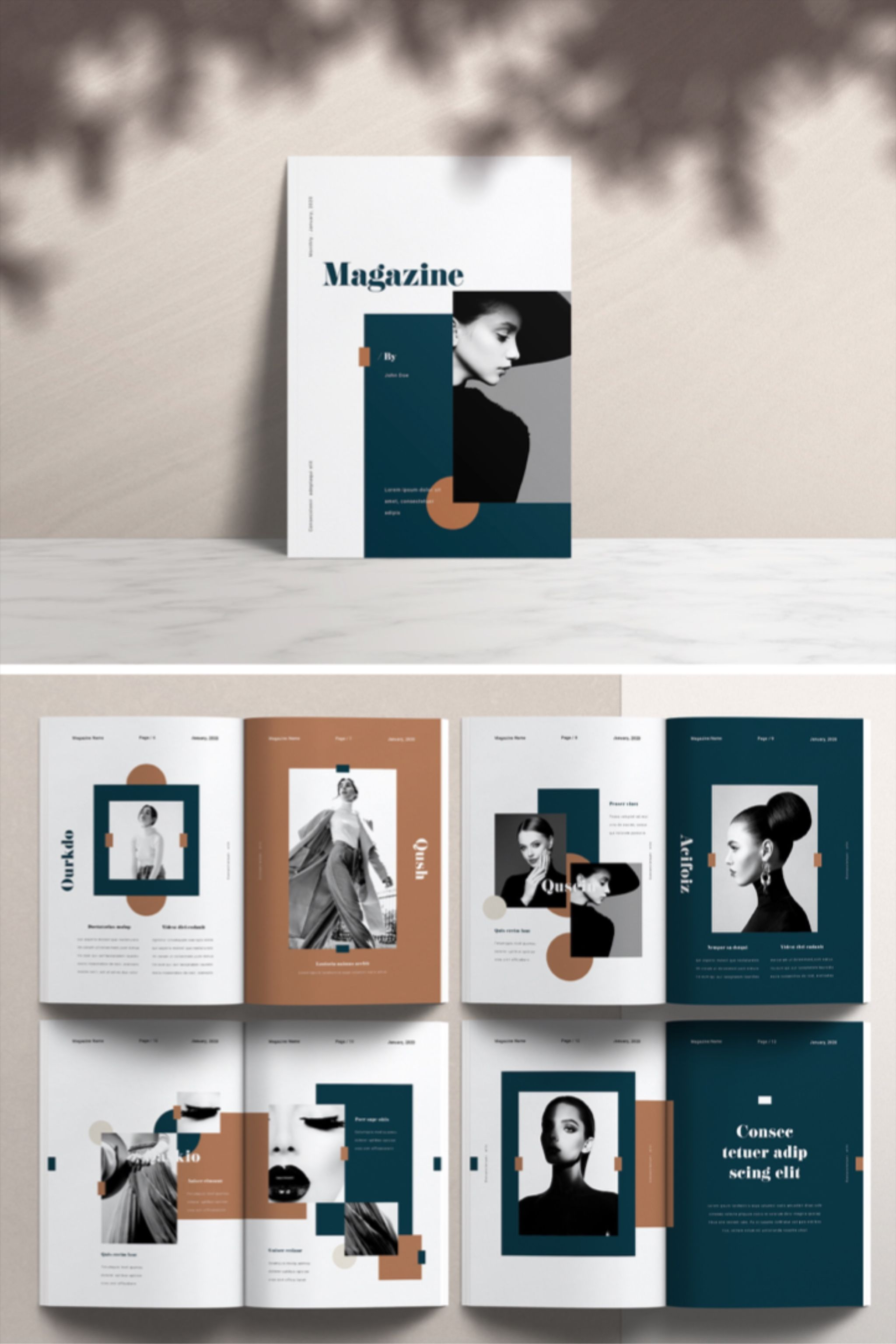 Creative Magazine Layout with Dark Green and Brown Accents ...