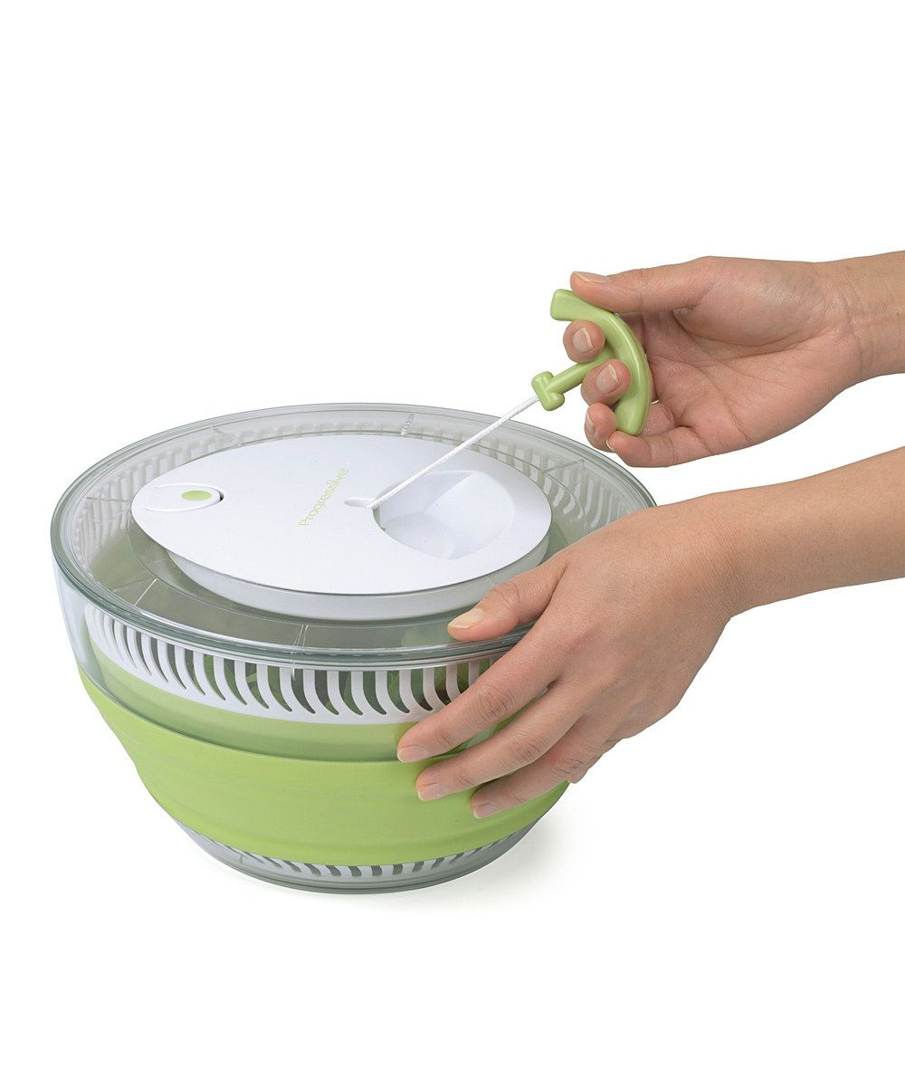 Collapsible Salad Spinner & Serving Bowl In One.