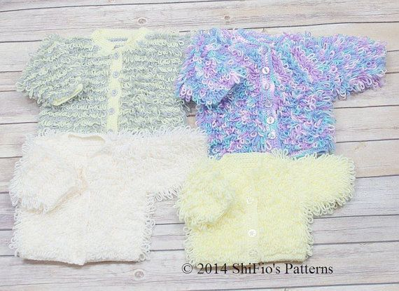 Knitting Pattern For Baby Loopy Cardigan and Bonnet